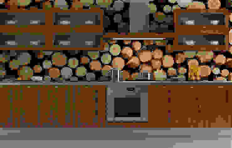 Wood Log Wall Modern Kitchen by Pixers Modern