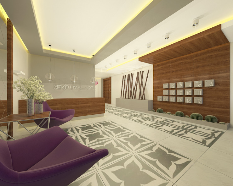 Corredores, halls e escadas modernos por Ofis 352 Mimarlık Hizmetleri Moderno