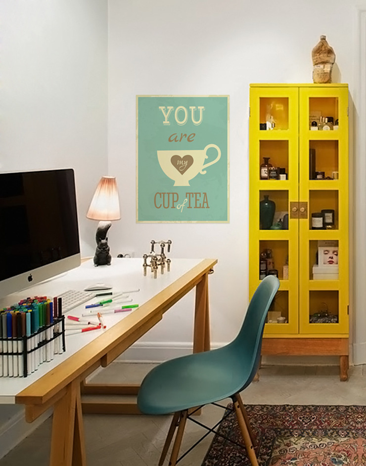 Cup of Tea Modern Study Room and Home Office by Pixers Modern