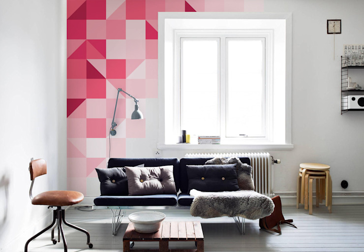 Geometric pink Modern living room by Pixers Modern