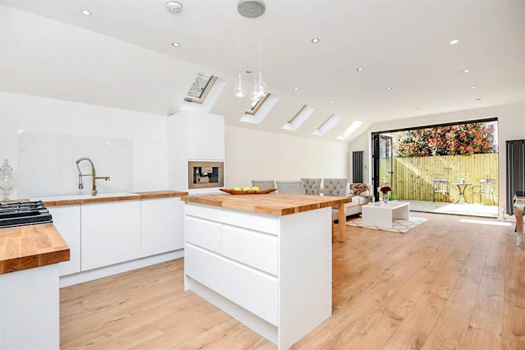 Open Plan Kitchen—As Built Modern Kitchen by Arc 3 Architects & Chartered Surveyors Modern