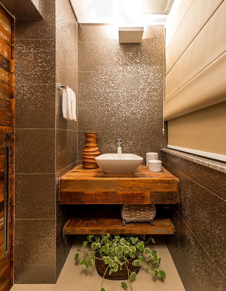 Rustic style bathroom by Flaviane Pereira Rustic Solid Wood Multicolored