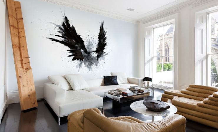 Black Wings Pixers Modern Living Room Black