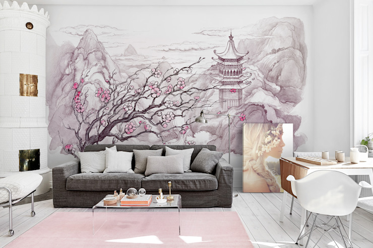 Japanese Mountains Eclectic style living room by Pixers Eclectic