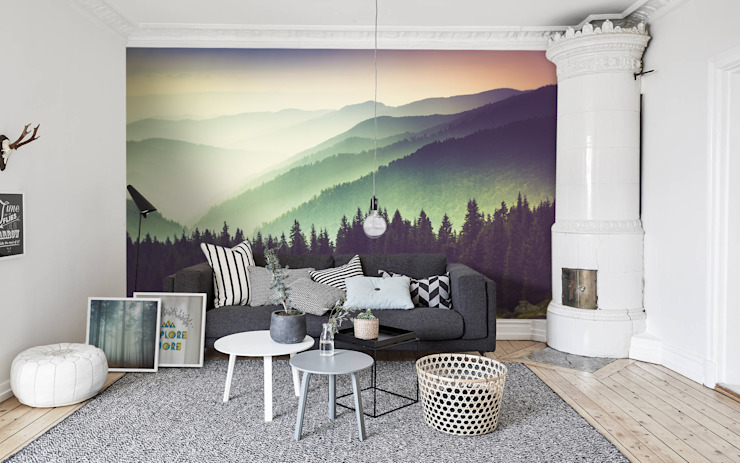 Mountains and haze:  Living room by Pixers,