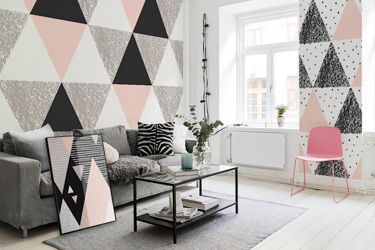 Pastel triangles Pixers Living room Multicolored