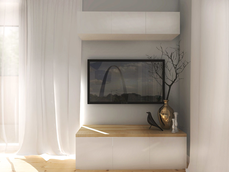 ZAZA studio Scandinavian style living room Wood White