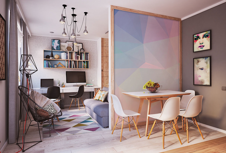 Geometric Pastels Scandinavian style dining room by homify Scandinavian