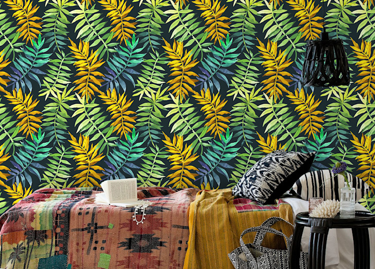 Green&Yellow Tropical style bedroom by Pixers Tropical