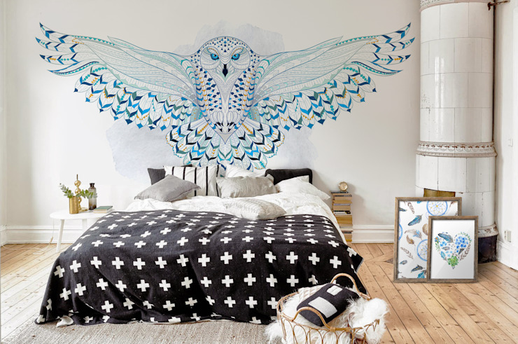 Snowy Owl Scandinavian style bedroom by Pixers Scandinavian