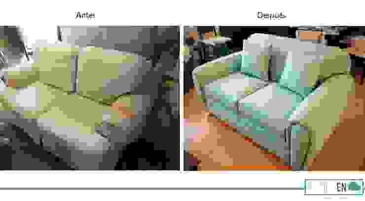 Comparación antes y después de sillón Love Seat de Estilo en muebles