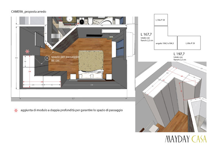 Azzurra Lorenzetto Modern style bedroom Wood Beige