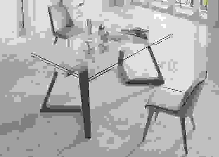 Mesas de jantar extensíveis com tampo em vidro Extendable dining tables with glass top www.intense-mobiliario.com LIN por Intense mobiliário e interiores Minimalista
