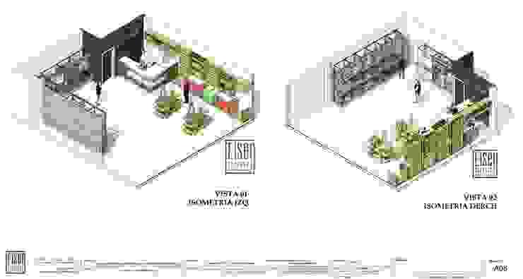 ISOMETRIAS 3D 1 y 2 LC -IGV-01 de Eisen Arquitecto Moderno Madera Acabado en madera