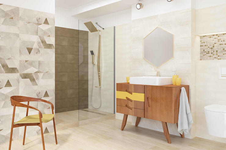 Kolekcja Attyia Eklektyczna łazienka od Ceramika Paradyż Eklektyczny