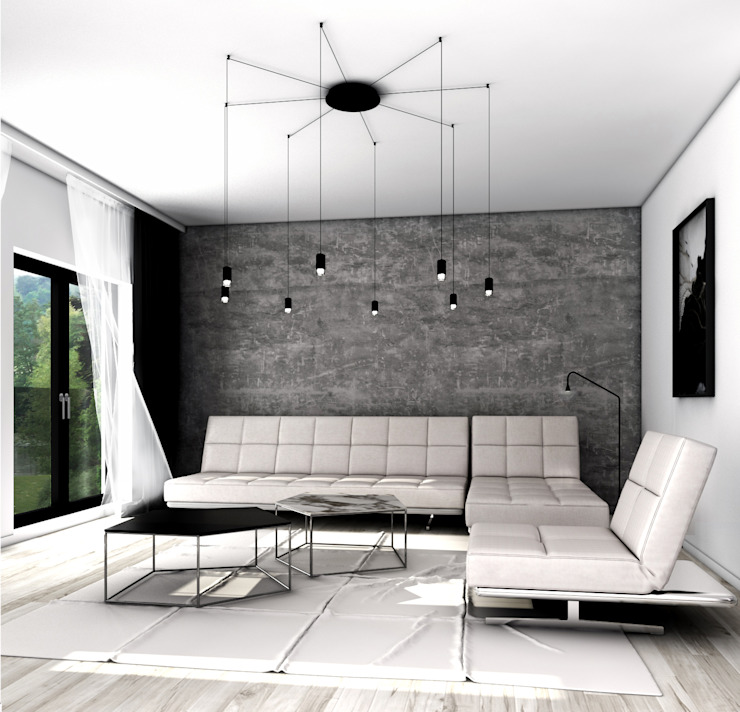 Projekt wnętrz domu w zabudowie bliźniaczej - Norwegia, Jessheim Skandynawski salon od MFA Studio Sp z o.o. Skandynawski