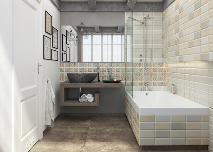 Kolekcja Forcados Rustykalna łazienka od Ceramika Paradyż Rustykalny