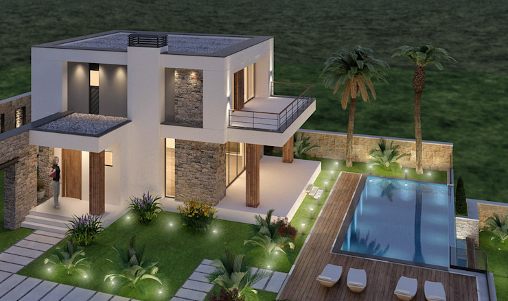 Eclectic style houses by ARTIBODRUM MİMARLIK MÜH.İNŞ.TAAH.TİC.LTD.ŞTİ Eclectic Stone