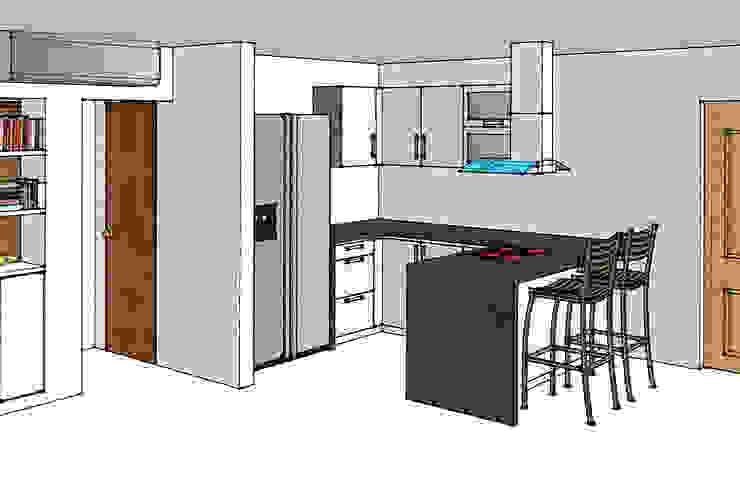 Render cocina integral: Cocinas de estilo  por Remodelar Proyectos Integrales