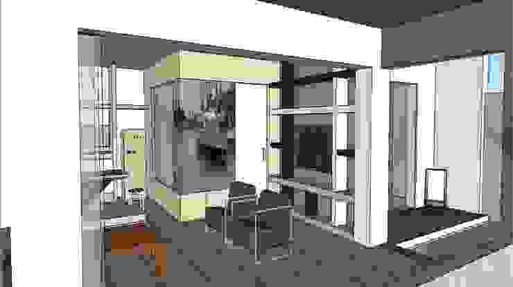 Edificio Bifamiliar Pon- Sala y Terrazas Casas de estilo ecléctico de 1en1arquitectos Ecléctico