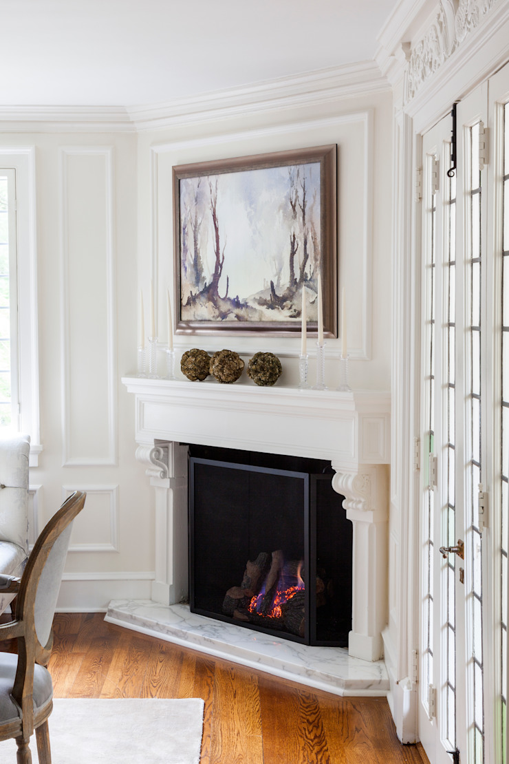 fireplace Mel McDaniel Design Classic style dining room