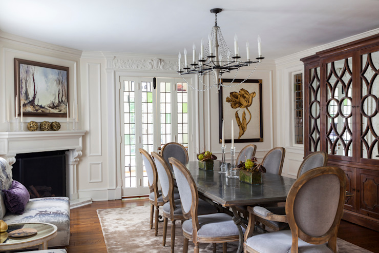 dining room with zinc table :  Dining room by Mel McDaniel Design ,