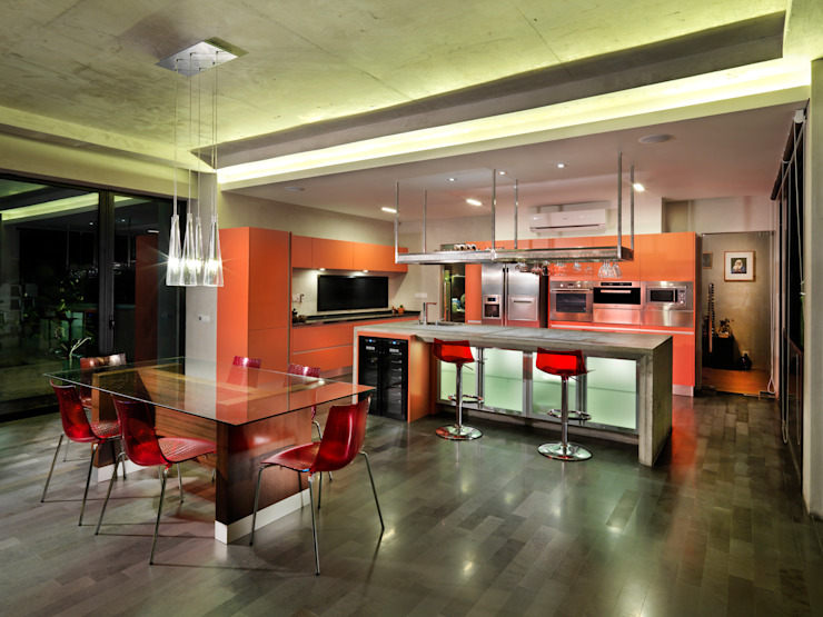 Kitchen and Dining MJ Kanny Architect Modern dining room