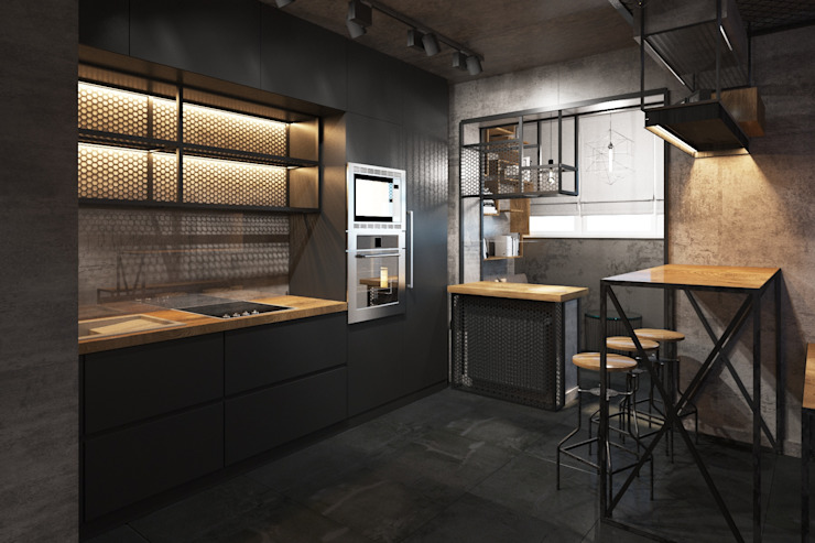 Industrial style kitchen by Zikzak architects Industrial