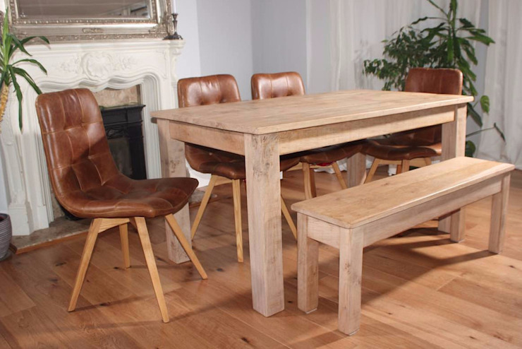 Rustic Oak Farmhouse Extendable Table by homify Рустiк Дерево Дерев'яні