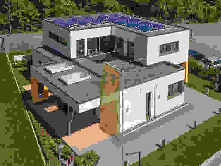 Casas de estilo moderno de Büdenbender Hausbau GmbH Moderno Madera Acabado en madera