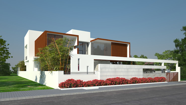 EXTERIOR VIEW Modern Houses by De Panache - Interior Architects Modern Concrete