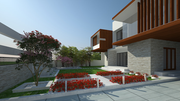 LANDSCAPE VIEW Modern style gardens by De Panache - Interior Architects Modern Stone