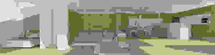 Mansarda open space Soggiorno moderno di DomECO Moderno Legno Effetto legno