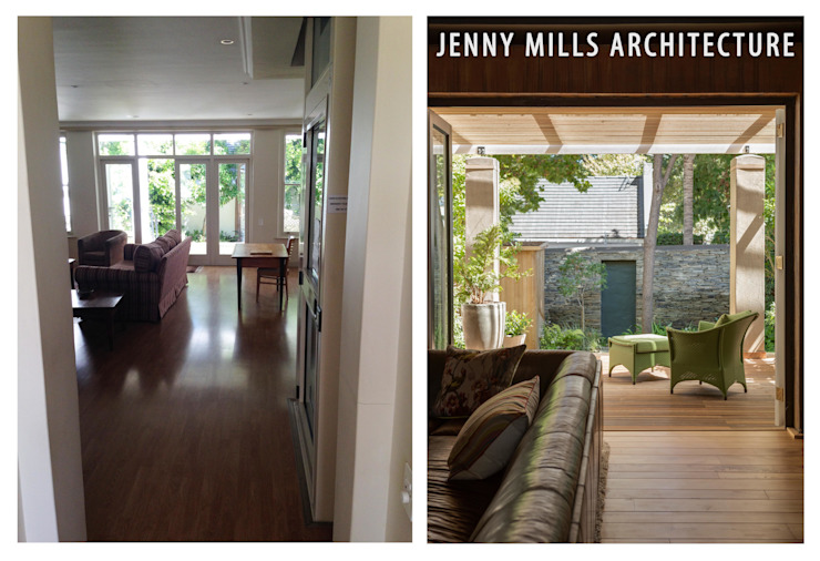 Living room before and after Jenny Mills Architects Modern living room Wood Brown