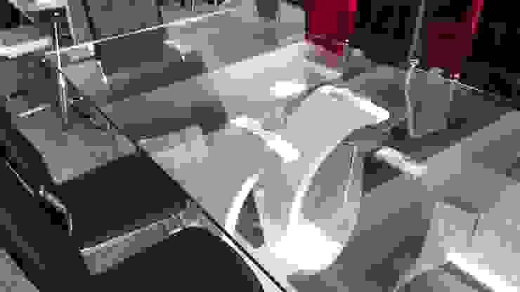 Mesa de vidrio templado y 6 sillas base cromada de Disegno´s Moderno Vidrio