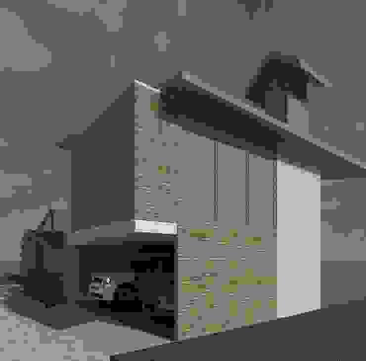 Fachada Lateral Anexos de estilo moderno de Diseño Store Moderno