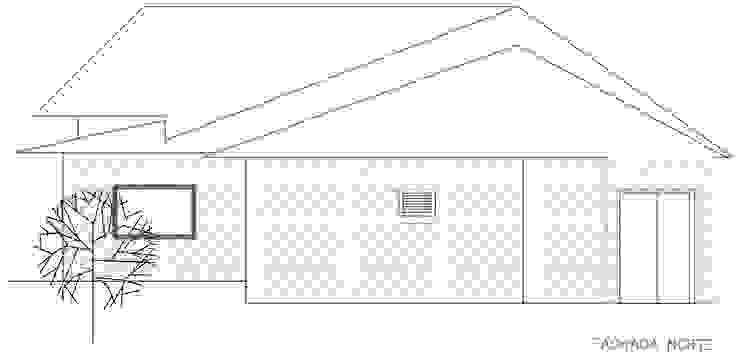 Fachada posterior Loft estudio C.A. Casas de estilo rural Ladrillos Blanco