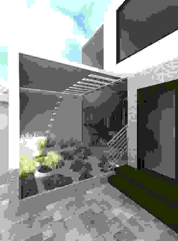 Vista del jardín Zen que empieza en el interior y termina en el exterior Jardines de estilo moderno de Diseño Store Moderno