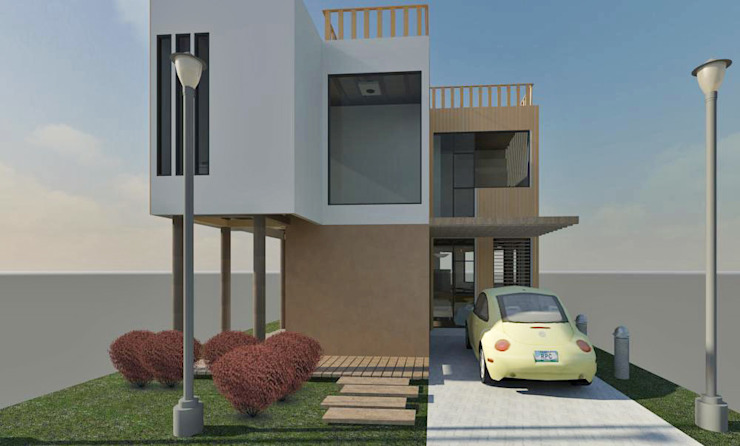 Fachada frontal Casas de estilo minimalista de Loft estudio C.A. Minimalista Madera Acabado en madera