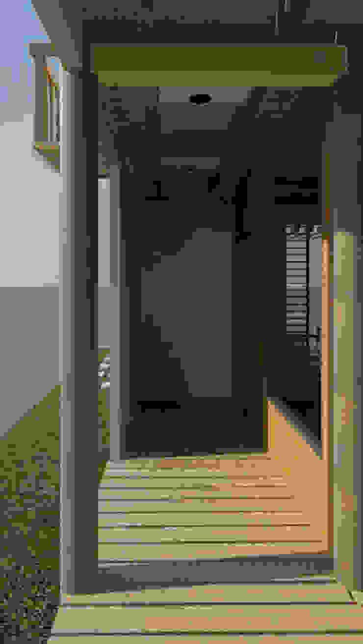 Vista acceso a la vivienda Casas de estilo minimalista de Loft estudio C.A. Minimalista Madera Acabado en madera