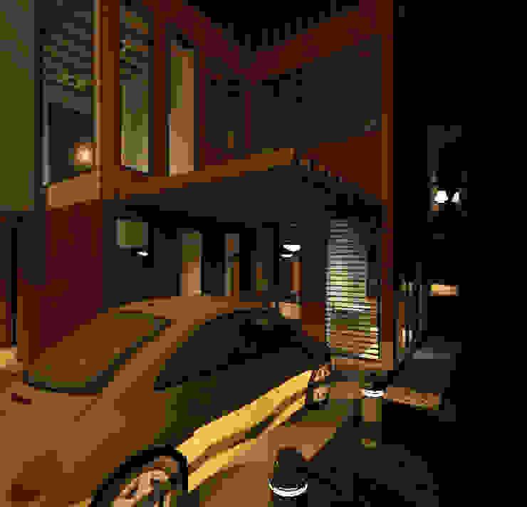 Vista nocturna fachada frontal Casas de estilo minimalista de Loft estudio C.A. Minimalista Madera Acabado en madera