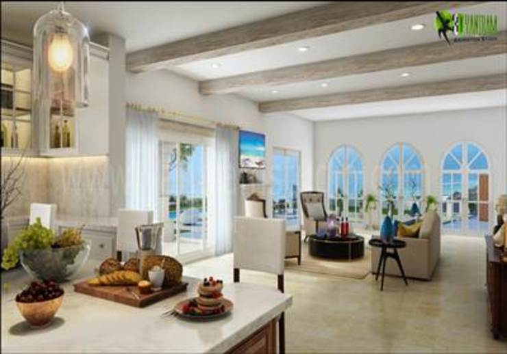 3D Residential Kitchen To Living Room Design: modern  by Yantram Architectural Design Studio, Modern