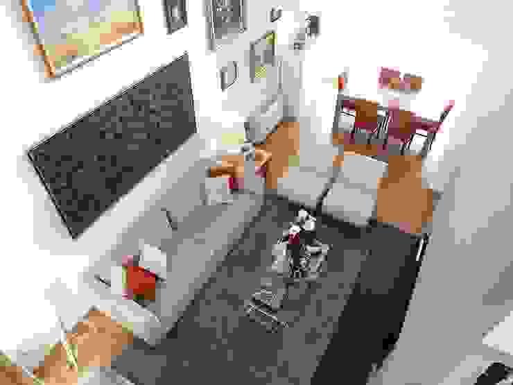 Sala - Vista de cima por Traço Magenta - Design de Interiores Moderno