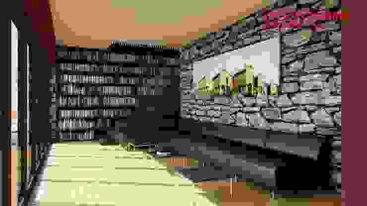 1274-RM-0812 Salas de estar rústicas por Oliveiros Grupo Rústico