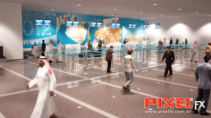 Kuwait Airport Aeroportos modernos por PIXELfx Moderno