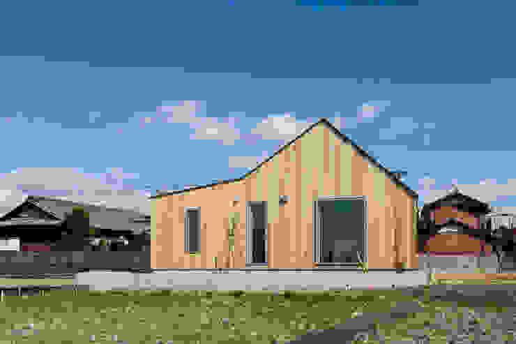 西ファサード/冬 オリジナルな 窓&ドア の hm+architects 一級建築士事務所 オリジナル 木 木目調
