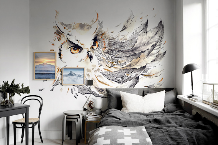 Grey Owl Country style bedroom by Pixers Country