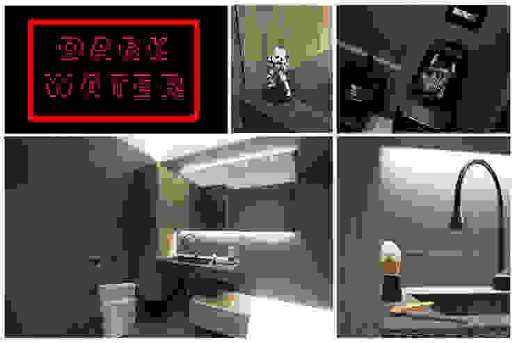 DARK WATER - a very dark bathroom - galactic renovation - TRASFORMAZIONE GALATTICA Rachele Biancalani Studio Bagno moderno Vetro Marrone