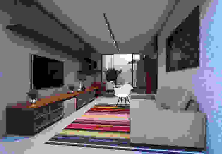 Lofts Salas multimídia minimalistas por Lozí - Projeto e Obra Minimalista