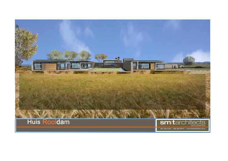 Rendering: House Rooidam south elevation Modern houses by Smit Architects Modern